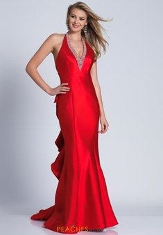 Picture of Dave and Johnny V Neck Ruffle Back Formal Dress