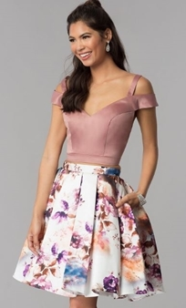 Picture of Short 2 Piece Floral Formal Dress