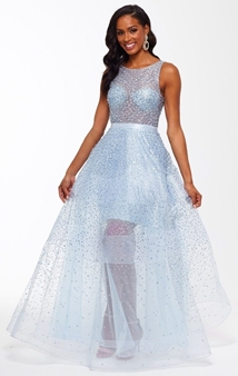 Picture of Betsy and Adam Sky Blue Beaded Formal Dress