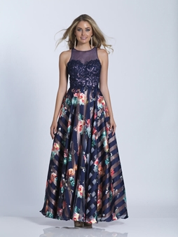 Picture of Black Sleeveless Floral Prom Dress
