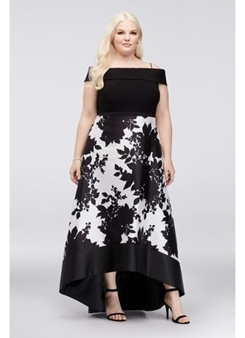 Picture of Black & White Off Shoulder Ball Gown