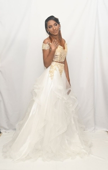Picture of White and Gold 2 Piece Formal Dress
