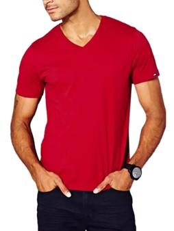 Picture of Red Tommy Hilfiger V Neck T Shirt
